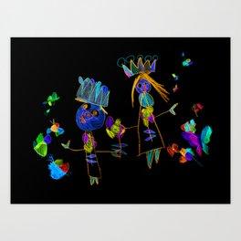 King, queen and butterflies Art Print