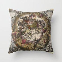 Keller's Harmonia Macrocosmica - Scenography of the Southern Celestial Hemisphere 1661 Throw Pillow