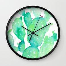 Teal Watercolour Cactus Wall Clock