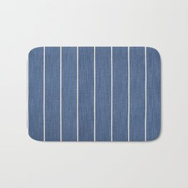 Denim Blue with White Pinstripes Bath Mat