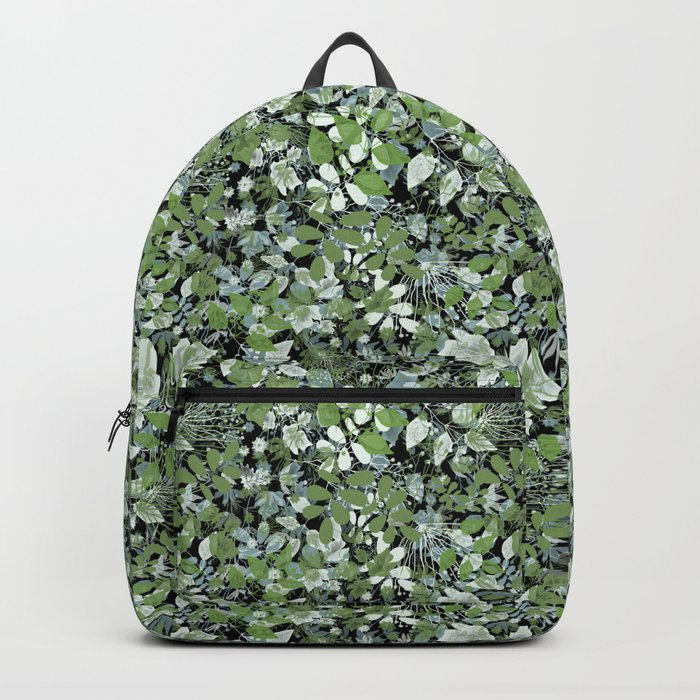 Summer. The leaves are green . Backpack