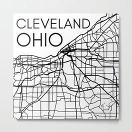 Cleveland City Street Map Ohio OH Home Town Pride Love Vintage Maps Metal Print