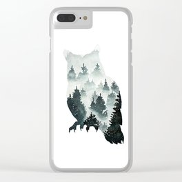 Owl in the Forest Double Exposure Painting Clear iPhone Case