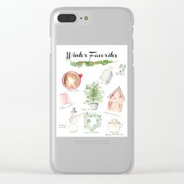 Winter Favorites in Watercolor Clear iPhone Case