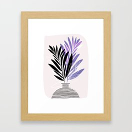 Lavender Olive Branches / Contemporary House Plant Drawing Framed Art Print