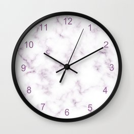 Modern White and Violet Marble Texture Wall Clock