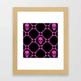 Skulls and bones hot pink on black Framed Art Print