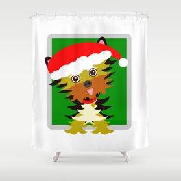 Christmas Yorkshire Terrier Cartoon Shower Curtain