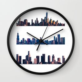 Chicago, New York, And Los Angeles City Skylines Wall Clock