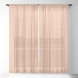 Tropical - Bright Pastel Peach - Solid Color Parable to Pantone Peach Quartz 13-1125 Sheer Curtain