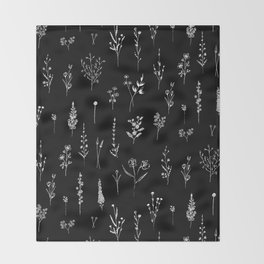 Black wildflowers Throw Blanket