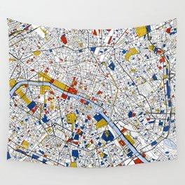 Paris Mondrian Map Art Wall Tapestry