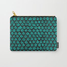Mermaid Glam // Turquoise Glitter Watercolor Scales on Charcoal Chalkboard Carry-All Pouch