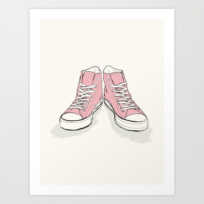 e7296496cd54c Pink Converse Art Print by michalgorelick