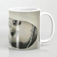 audrey hepburn Mugs featuring Audrey Hepburn by Claire Lee Art