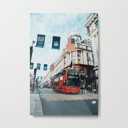 London Bus at Piccadilly Square by James Connolly Metal Print