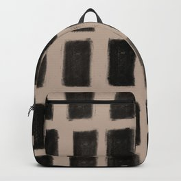 Brush Strokes Vertical Lines Black on Nude Backpack