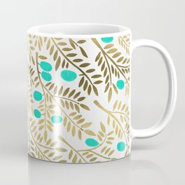 Gold & Turquoise Olive Branches Coffee Mug