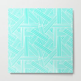 Sketchy Abstract (White & Turquoise Pattern) Metal Print