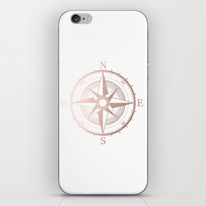 Rose Gold Compass iPhone Skin