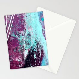 01012: a vibrant abstract piece in teal and ultraviolet Stationery Cards