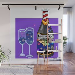 New Years Firework Pixel Drink Wall Mural
