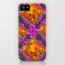 Hot Pink Roses Golden Daffodils Dark Grey Art iPhone Case