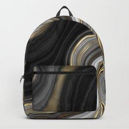 Black & Gold Agate Stone Backpack
