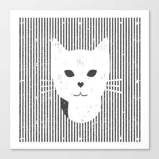 Stripe Kitty Canvas Print