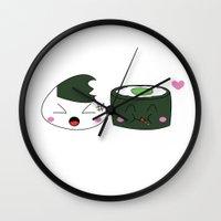 nori Wall Clocks featuring Sushi Bite by Pixiechu