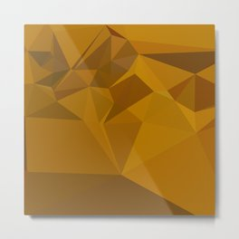 Curry Yellow Abstract Low Polygon Background Metal Print