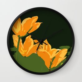 Orange Tulips Wall Clock
