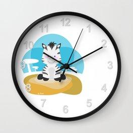 Zebra in the savannah Wall Clock