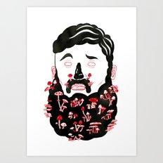 Mushroom Beard Dude Art Print