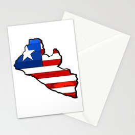Liberia Map with Liberian Flag Stationery Cards