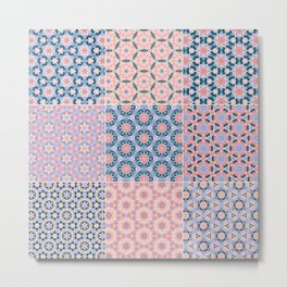 Abstract Pink and Blue Flower Patchwork Pattern Metal Print