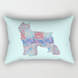 Bouvier Des Flandres Vintage Floral Pattern Blue Red Coral Pink Rectangular Pillow