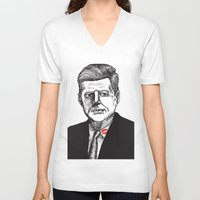 jfk V-neck T-shirts featuring JFK by Parker Nugent Illustration