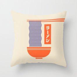 Ramen Japanese Food Noodle Bowl Chopsticks - Cream Throw Pillow