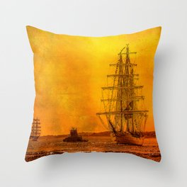 Tall Ships - Morning of Glory Throw Pillow
