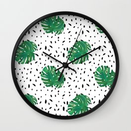 Monstera Dot Spots Wall Clock