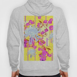 Modern Yellow Art White Spider Mums Pink Flowers Garden Art Hoody
