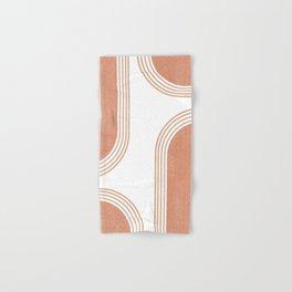 Mid Century Modern 4 - Geometrical Abstract - Minimal Print - Terracotta Abstract - Burnt Sienna Hand & Bath Towel