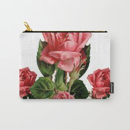 ANTIQUE VINTAGE ART PINK ROSES FLOWERS Carry-All Pouch