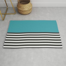 Half Striped Gray - Solid Turquoise Rug
