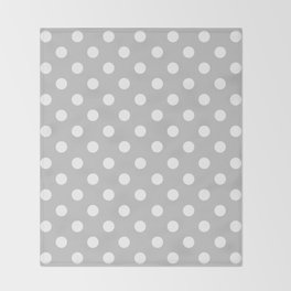 Polka Dots (White & Gray Pattern) Throw Blanket