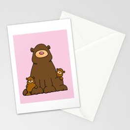mother bear and her cubs Stationery Cards