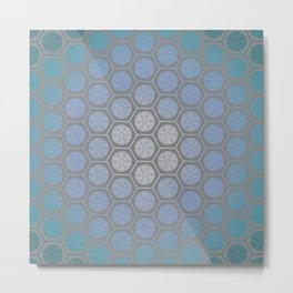 Hexagonal Dreams - Blue Turquoise Gradient Metal Print
