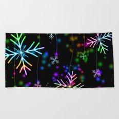 Rainbow Snowflakes Beach Towel