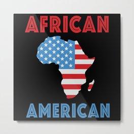 African American Flag Africa Map Black History Metal Print